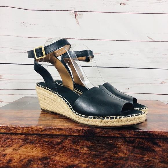 Clarks Artisan Women's Black Leather Espadrille Wedge Sandals Size 7M Open Toe